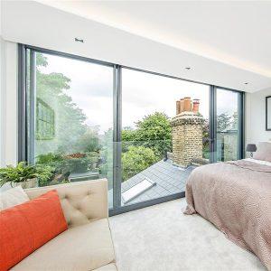 bedroom overlooking chimney breast