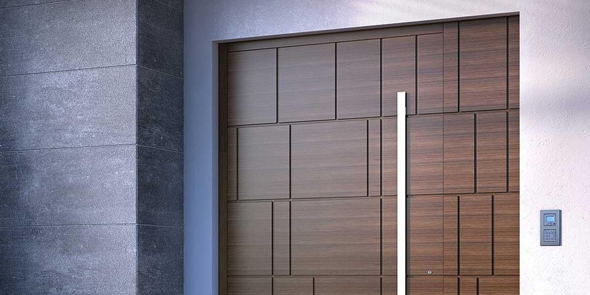wide front door with long metal handle