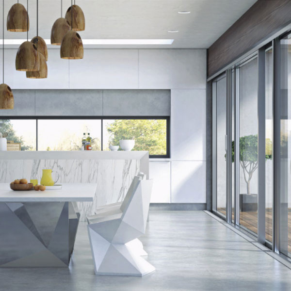 modern white kitchen with geometric furniture and wooden pendant lighting