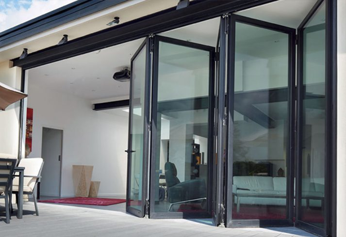 folding doors open onto patio area