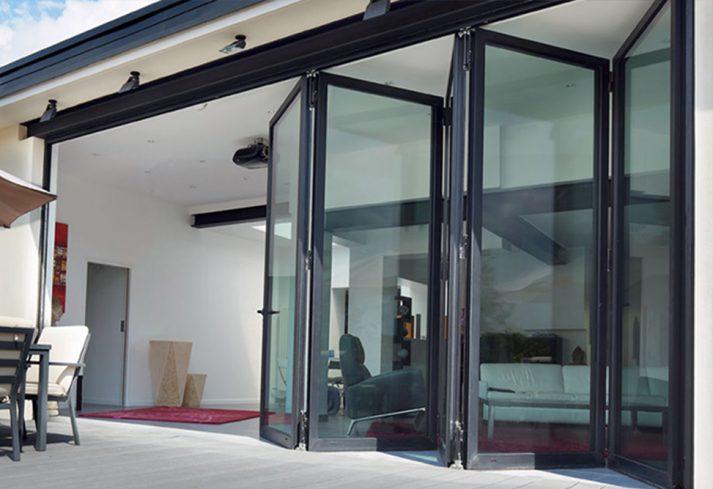 folding doors open onto patio area