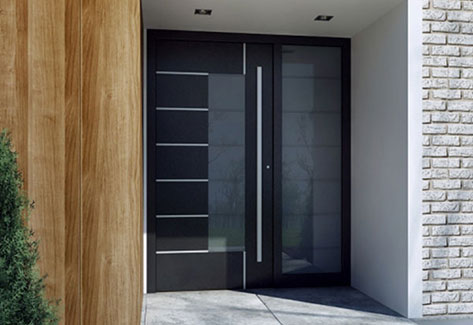 modern aluminium front door with glass panels