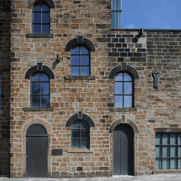 old building with grid windows