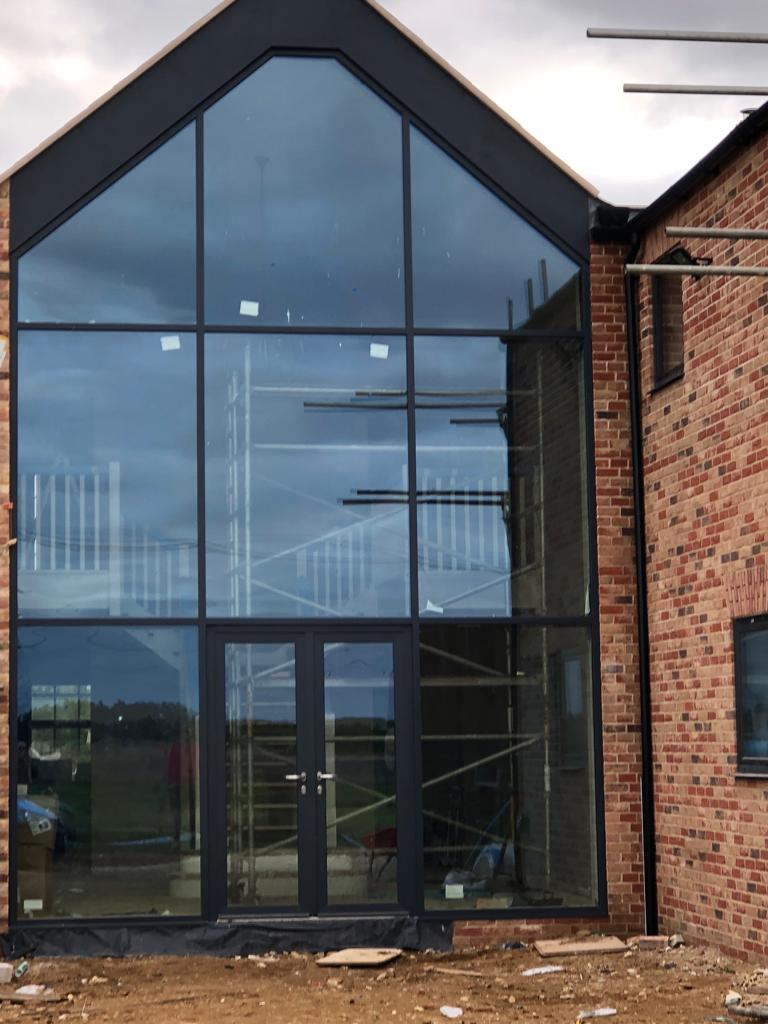 glass curtain wall with door