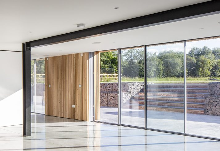 Aluminium Sliding Doors with steps and bushes in background