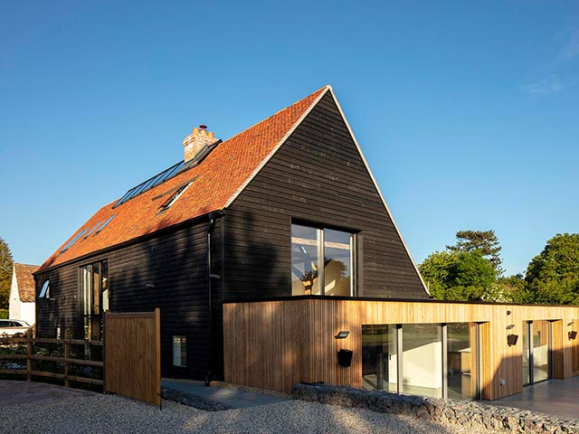 modern house and gravel drive