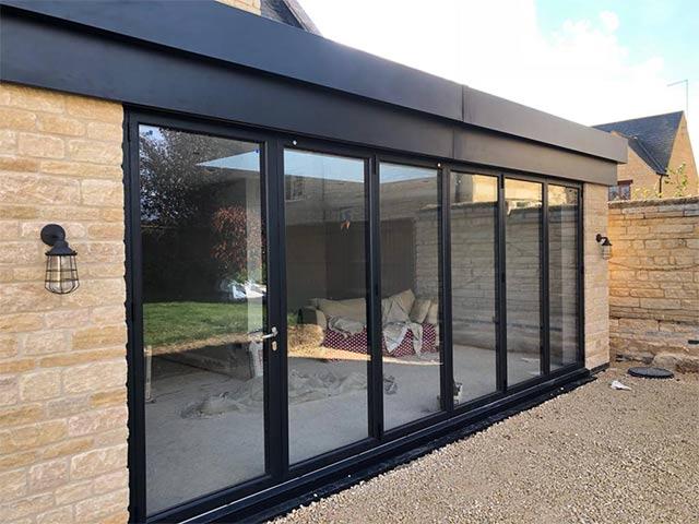 black aluminium sliding doors