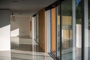 room with wall of sliding doors