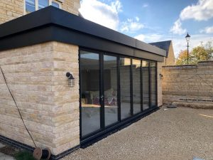 building extension with patio doors