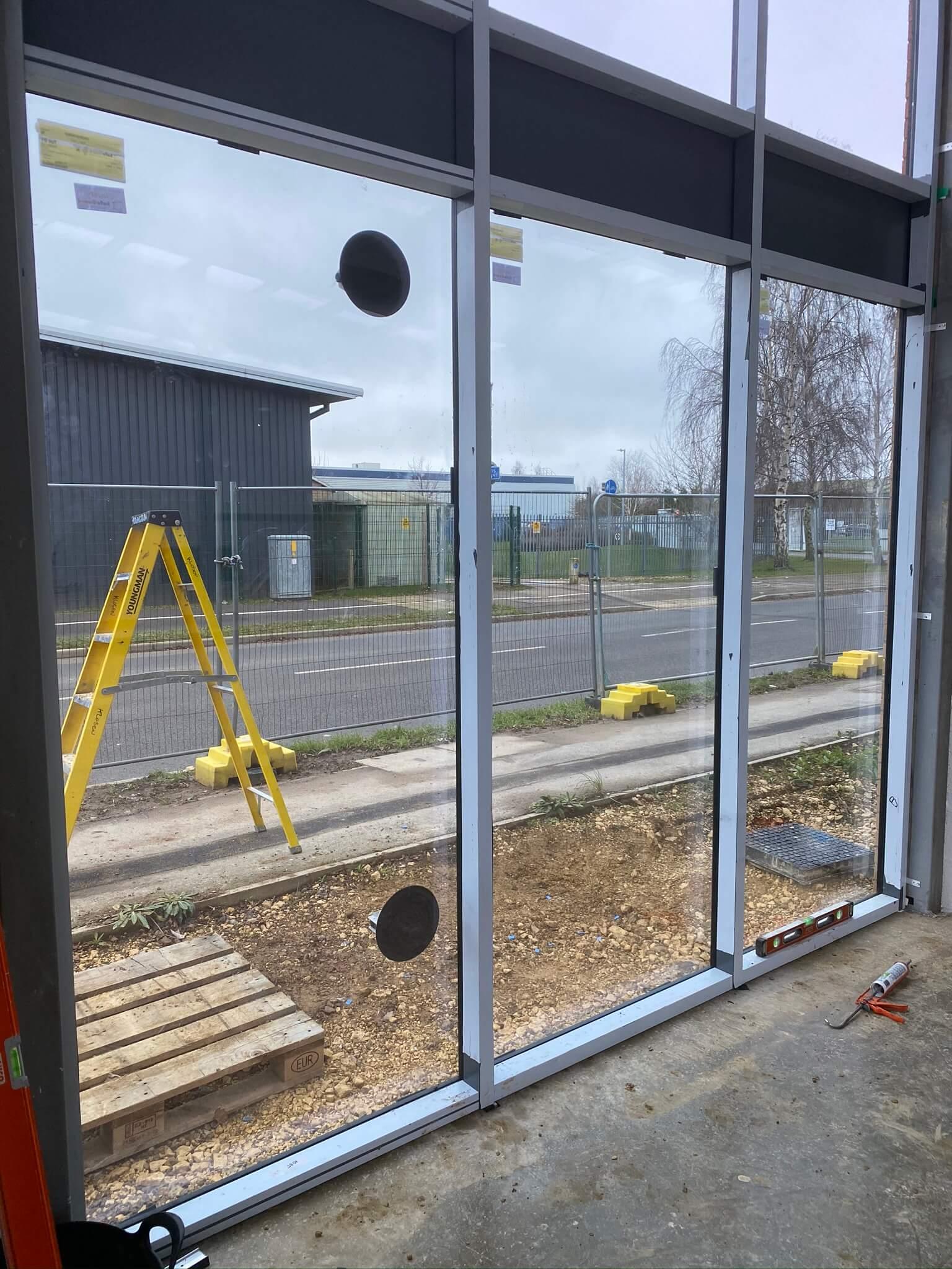 Newly installed aluminium curtain walling
