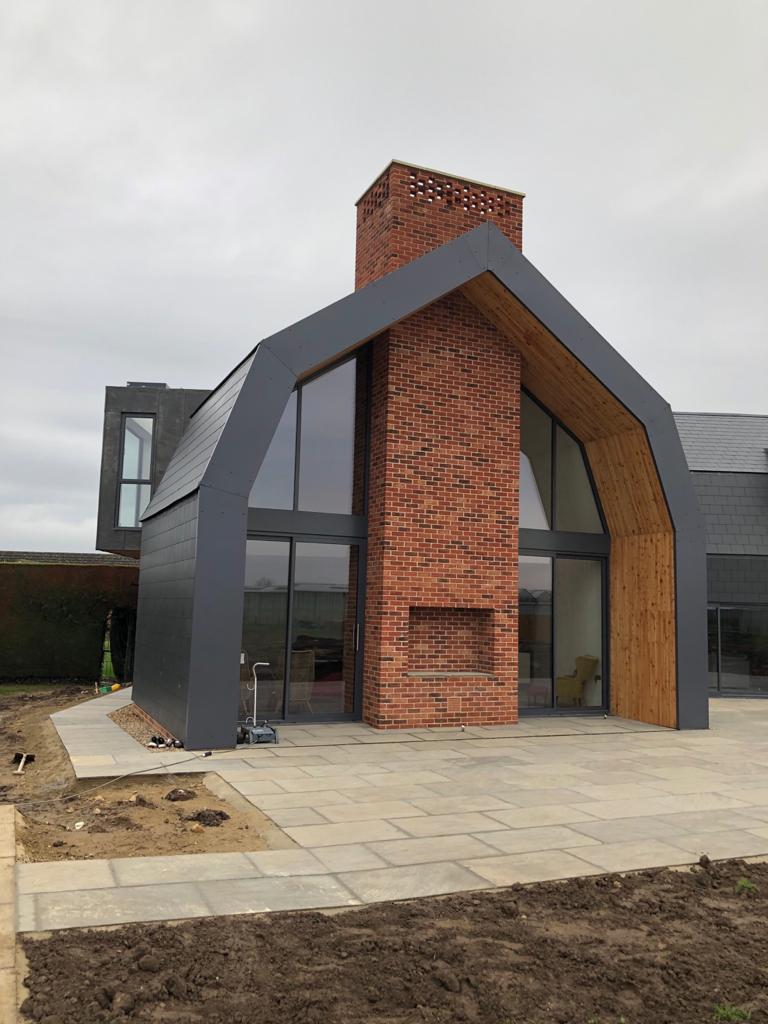 aluminium windows in Dutch barn new build
