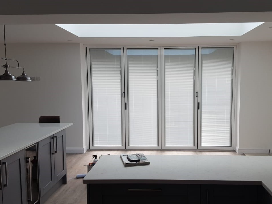 Interior view of aluminium bi-fold doors
